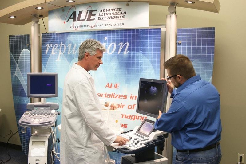 Professional inspecting ultrasound machine